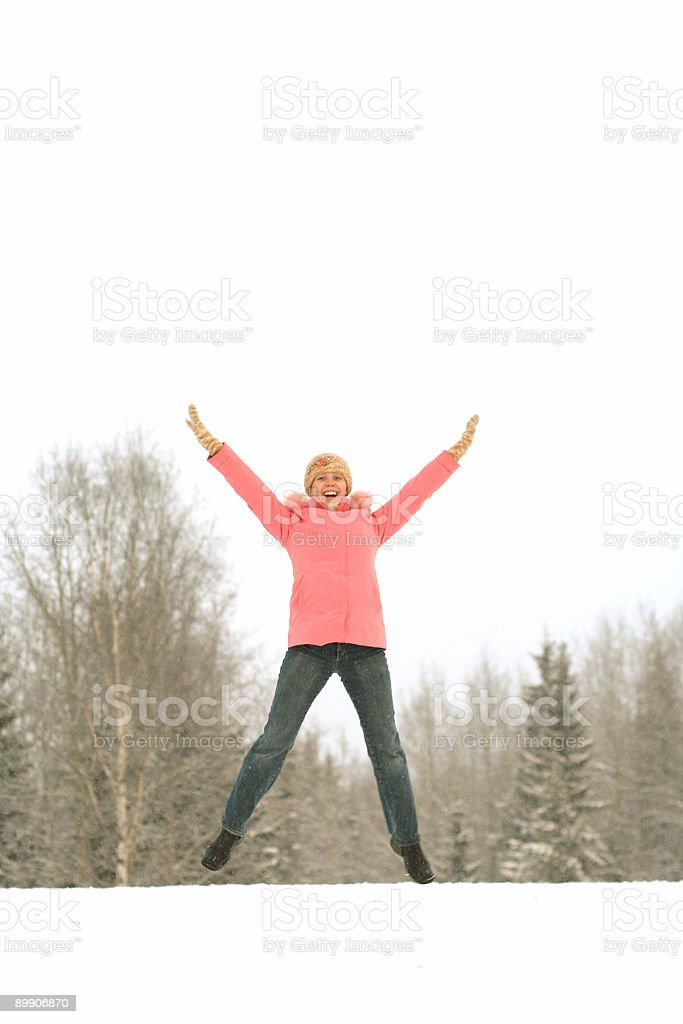 Girl in jump royalty-free stock photo