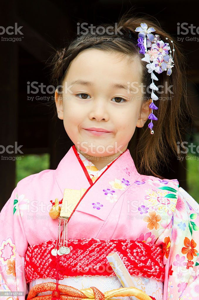 Girl in kimono stock photo
