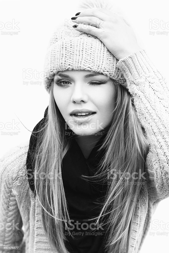 Girl in knit clothes stock photo