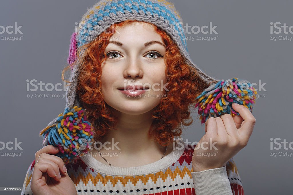 Girl in knitted cap royalty-free stock photo