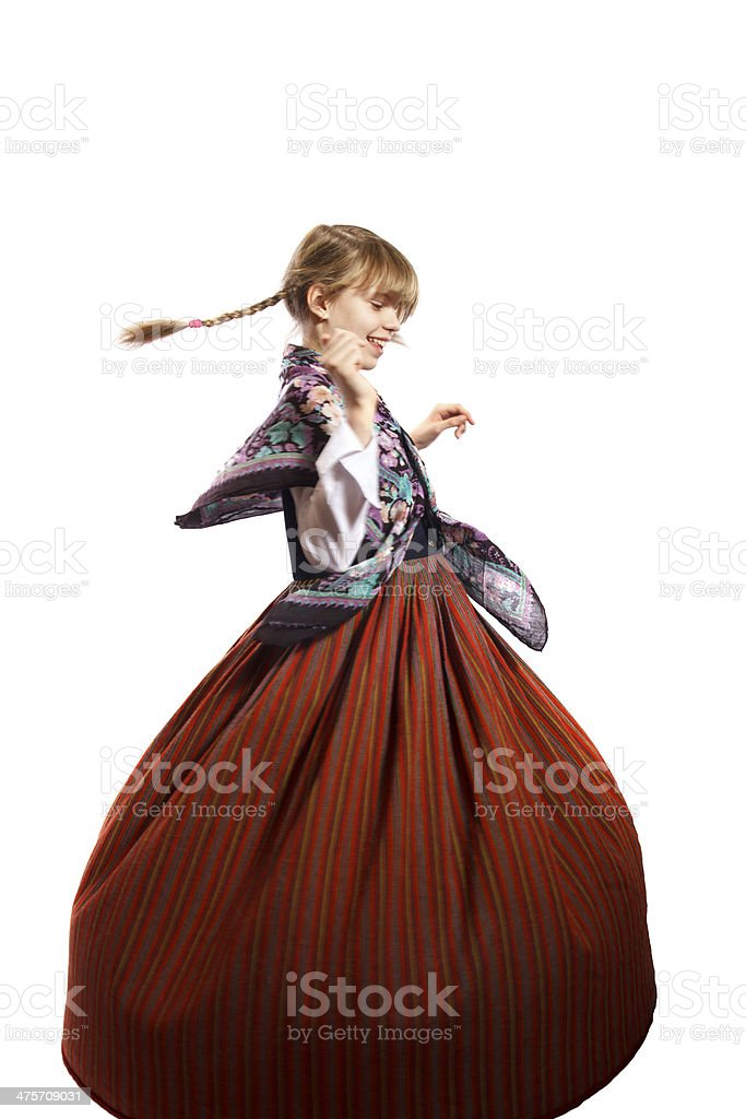 girl in Latvian national costume stock photo