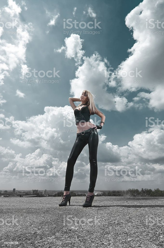 aa8a784f7 Girl In Leather Pants Stock Photo & More Pictures of Abdomen - iStock