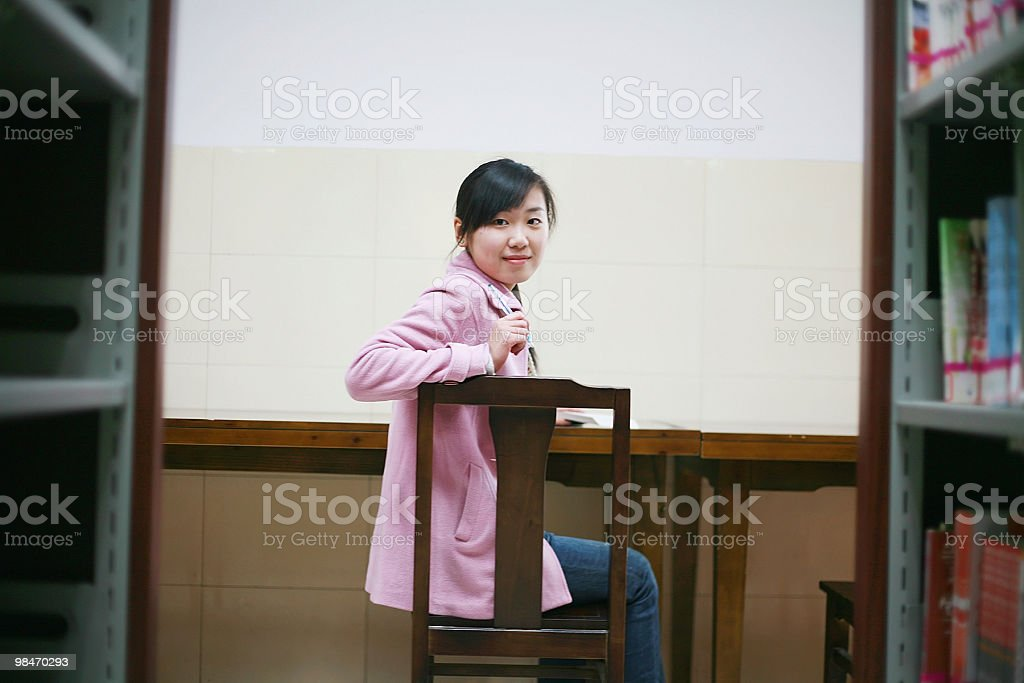girl in library royalty-free stock photo