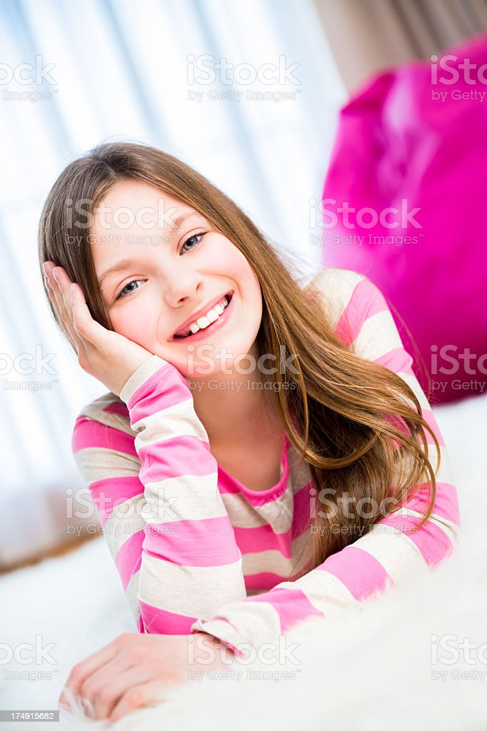 Girl in living room royalty-free stock photo
