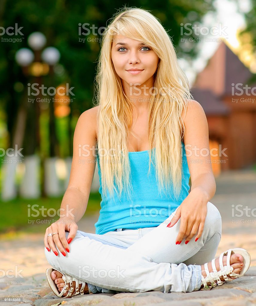 Girl in lotus pose royalty-free stock photo