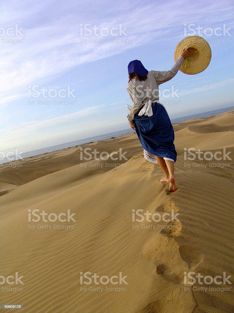 Girl in Maspalomas beach royalty-free stock photo