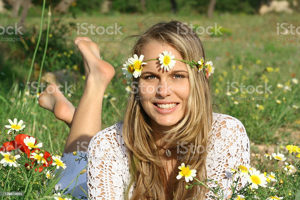 girl in meadow (series) royalty-free stock photo
