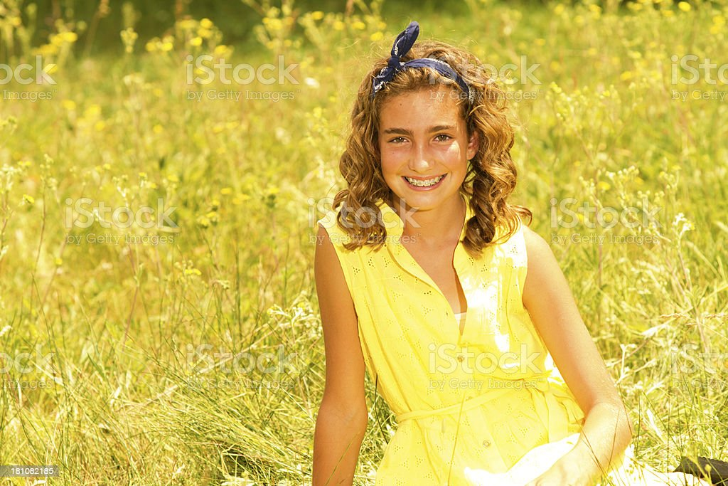 Girl in meadow royalty-free stock photo