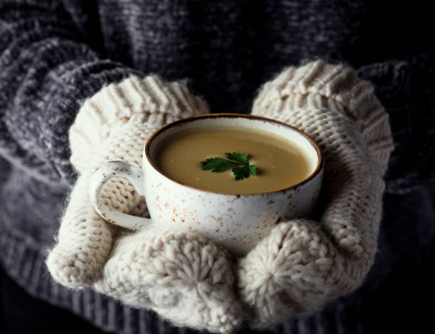girl in mittens holding a cup of soup - sopa imagens e fotografias de stock