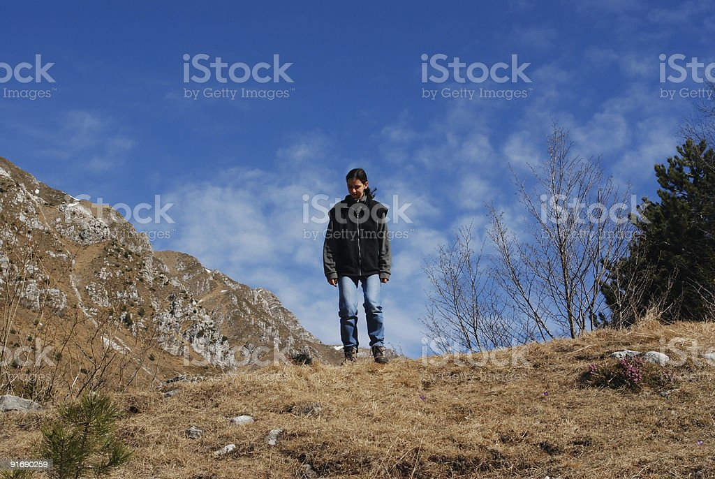 Girl in mountain series royalty-free stock photo