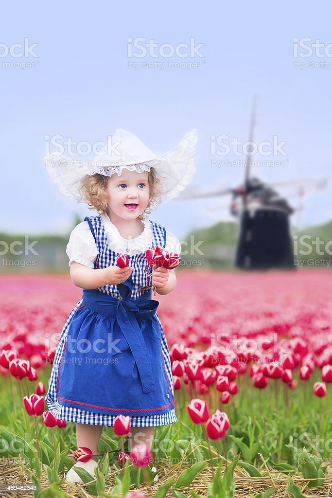Girl in national Dutch costume on tulips field with windmill royalty-free stock photo