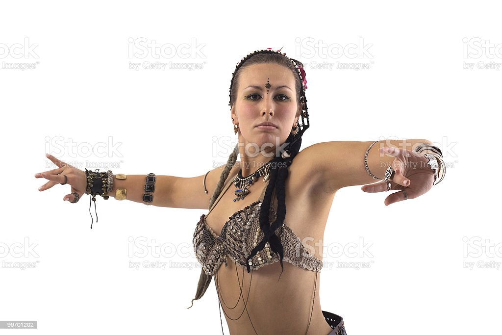 Girl in native clothes dancing royalty-free stock photo