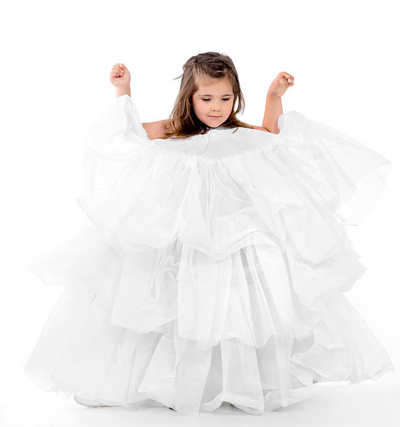 girl in oversized dress - petticoat stock pictures, royalty-free photos & images