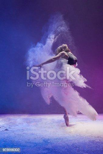 istock Girl in pointe shoe in dust cloud profile shot 923556302