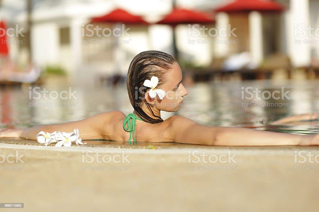 Girl in pool royalty-free stock photo