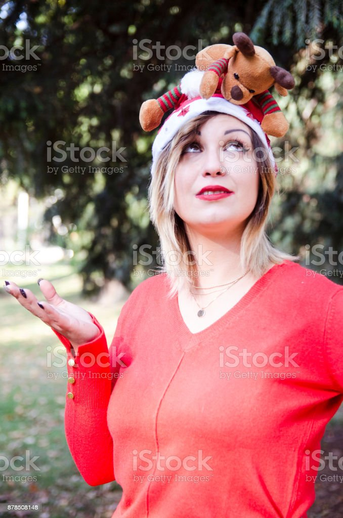 Girl in red christmas mood stock photo