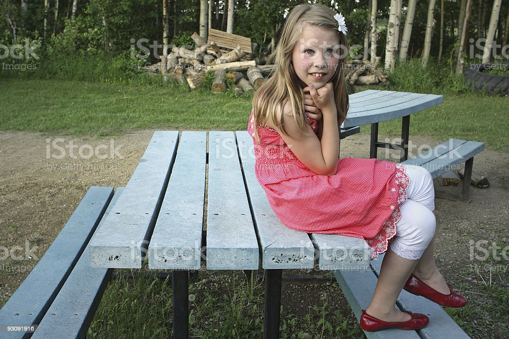 girl in red dress royalty-free stock photo