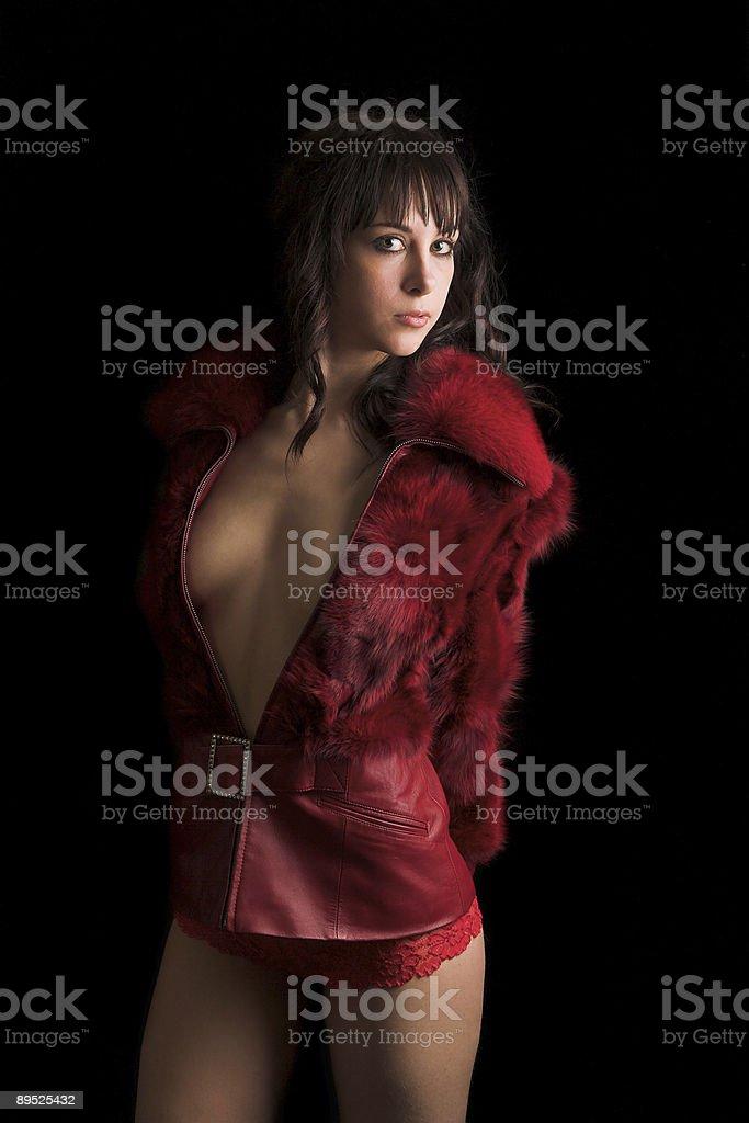 girl in red fur coat royalty-free stock photo