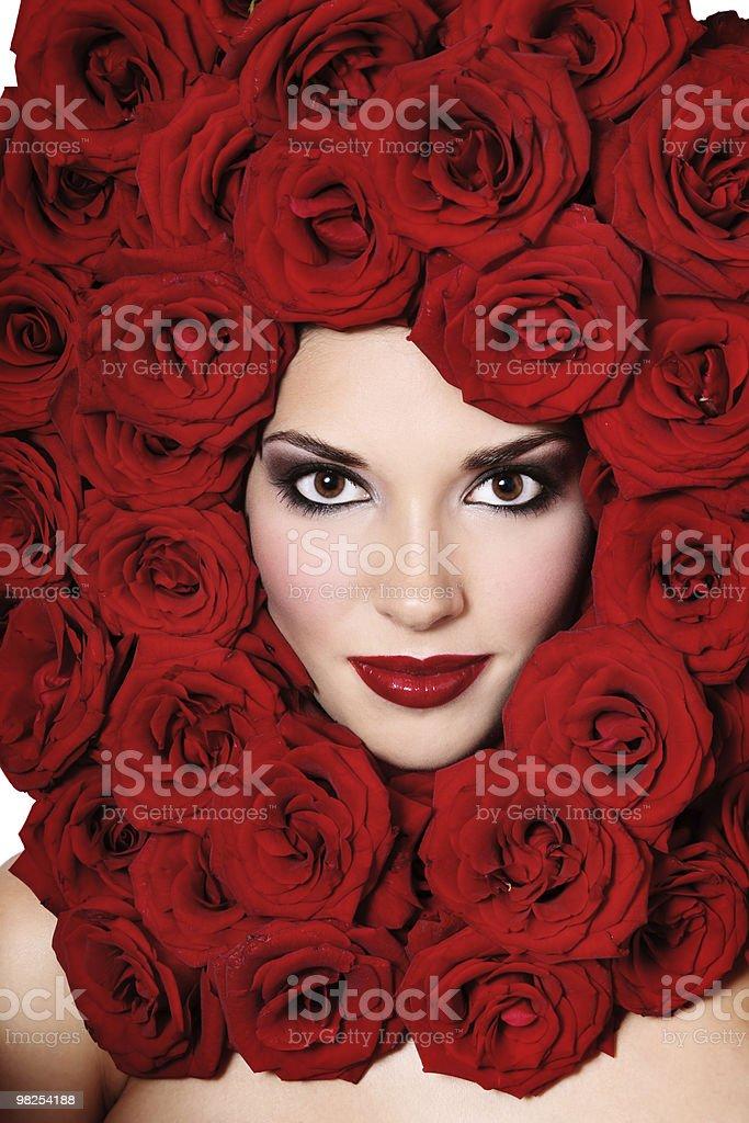 여자아이 빨간 장미 royalty-free 스톡 사진