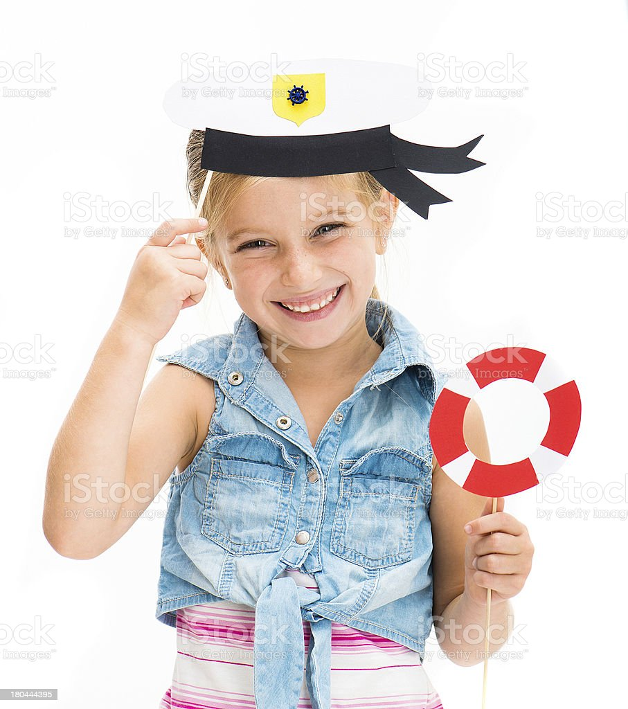 girl in sailor hat royalty-free stock photo