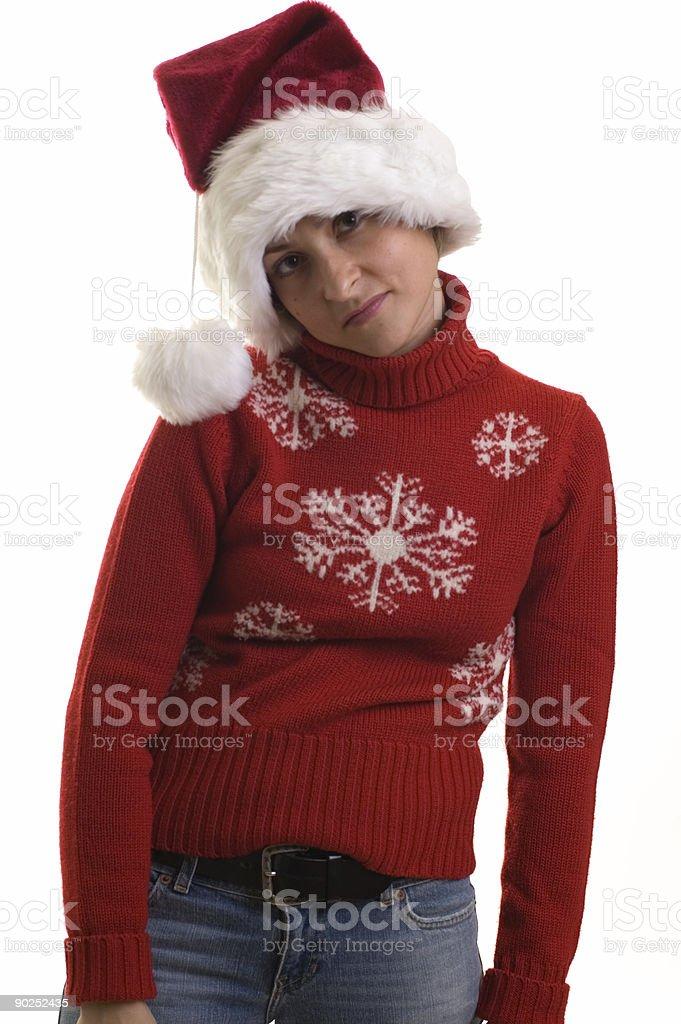 Girl in Santa Suite stock photo