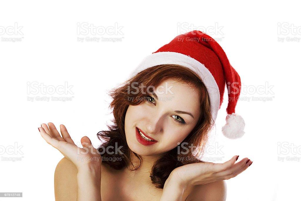 girl in santa's hat royalty-free stock photo