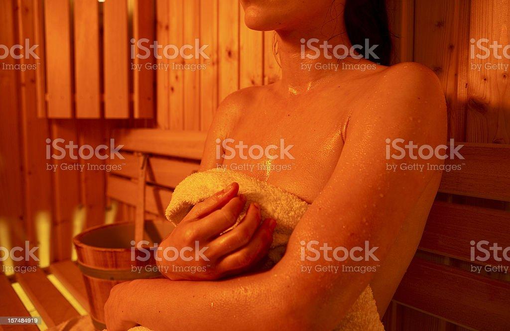 Girl in Sauna royalty-free stock photo