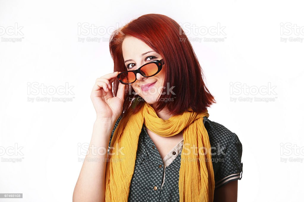 Girl in scarf and sunglasses royalty-free stock photo