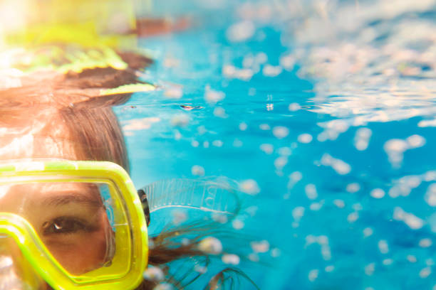 Girl in scuba masks under water, close up portrait stock photo