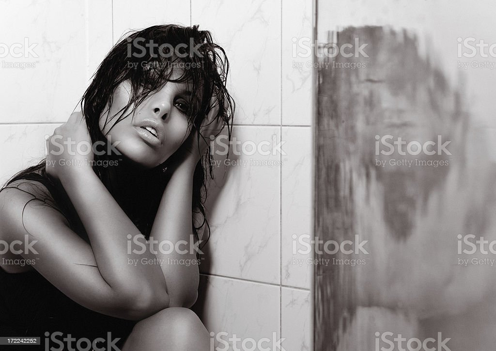 Girl In Shower royalty-free stock photo