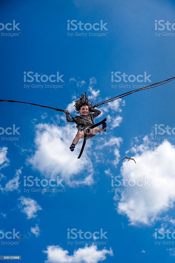 Girl in sky and clouds. royalty-free stock photo