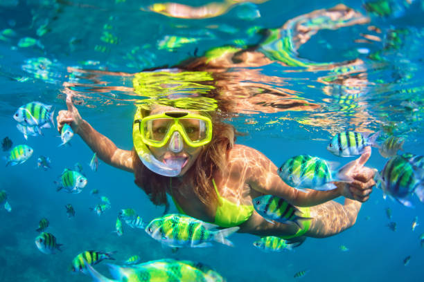 Girl in snorkeling mask dive underwater with coral reef fishes Happy family - girl in snorkeling mask dive underwater with fishes school in coral reef sea pool. Travel lifestyle, water sport outdoor adventure, swimming lessons on summer beach holidays with child. underwater diving stock pictures, royalty-free photos & images