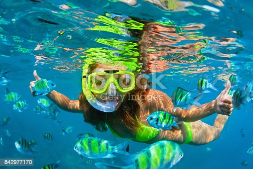 istock Girl in snorkeling mask dive underwater with coral reef fishes 842977170