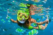 シュノーケ リング マスク ダイビング、サンゴ礁魚類と水中の女の子