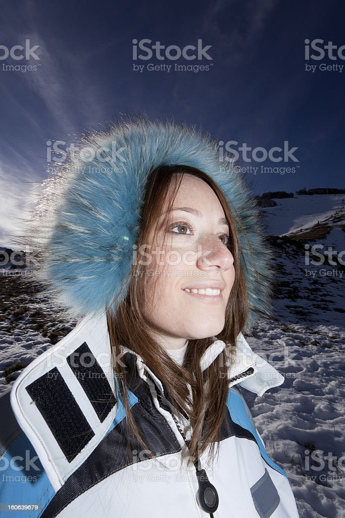 Girl in snow portrait - XXXL royalty-free stock photo
