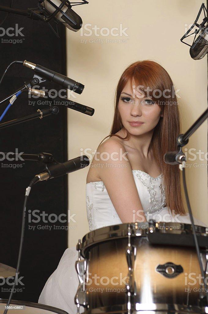 Girl in sound recording studio. royalty-free stock photo