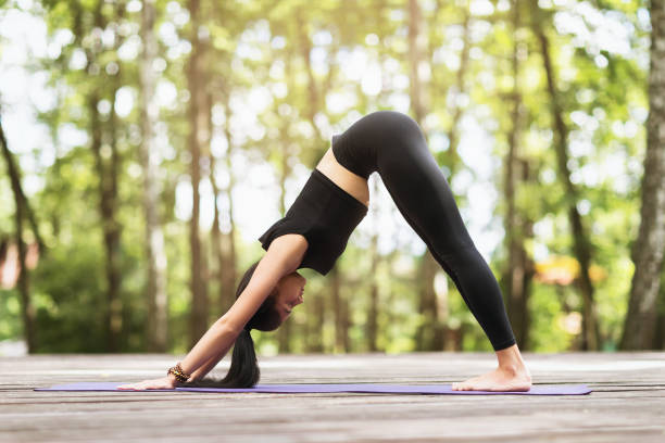 Girl in sportswear, standing on a carpet in the park, practicing yoga asanas, performing face down dog pose Girl in sportswear, standing on a carpet in the park, practicing yoga asanas, performing face down dog pose face down stock pictures, royalty-free photos & images