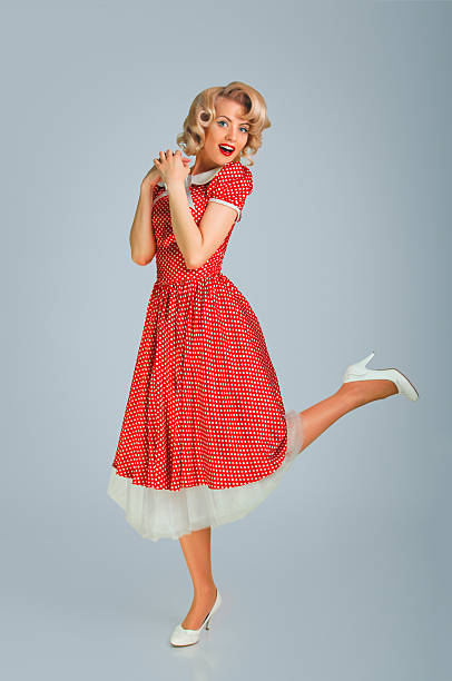 girl in spotted dress - pin up girl stock pictures, royalty-free photos & images