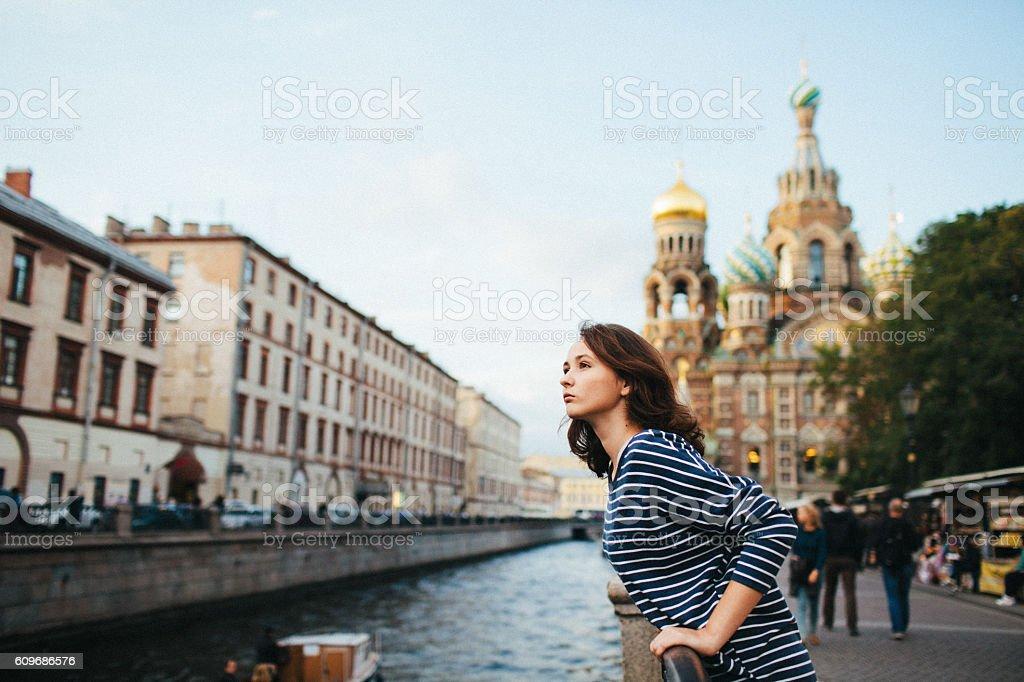 Girl in St. Petersburg stock photo