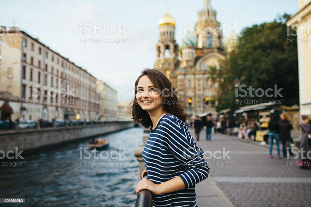 Girl in St.Petersburg stock photo
