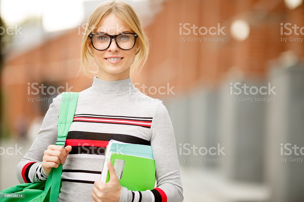 girl in striped pullover and with Tablet royalty-free stock photo