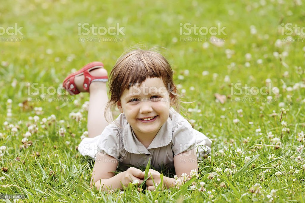 girl in summer meadow royalty-free stock photo