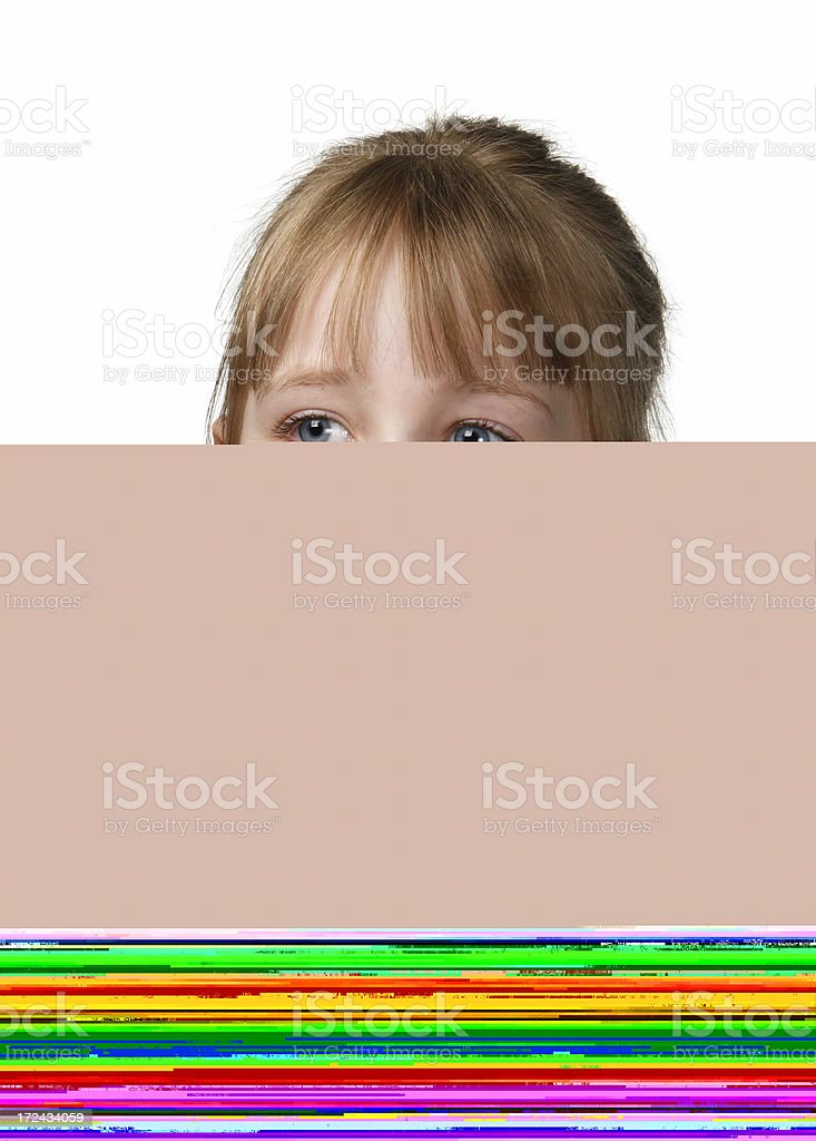 Girl in sunglasses on lilac bench royalty-free stock photo