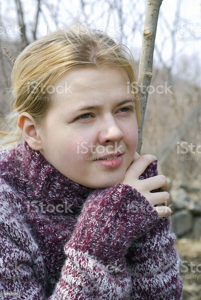 Girl in sweater royalty-free stock photo