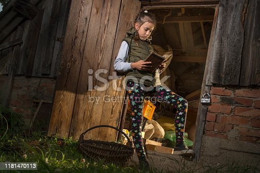 Girl in the barn reading a book.