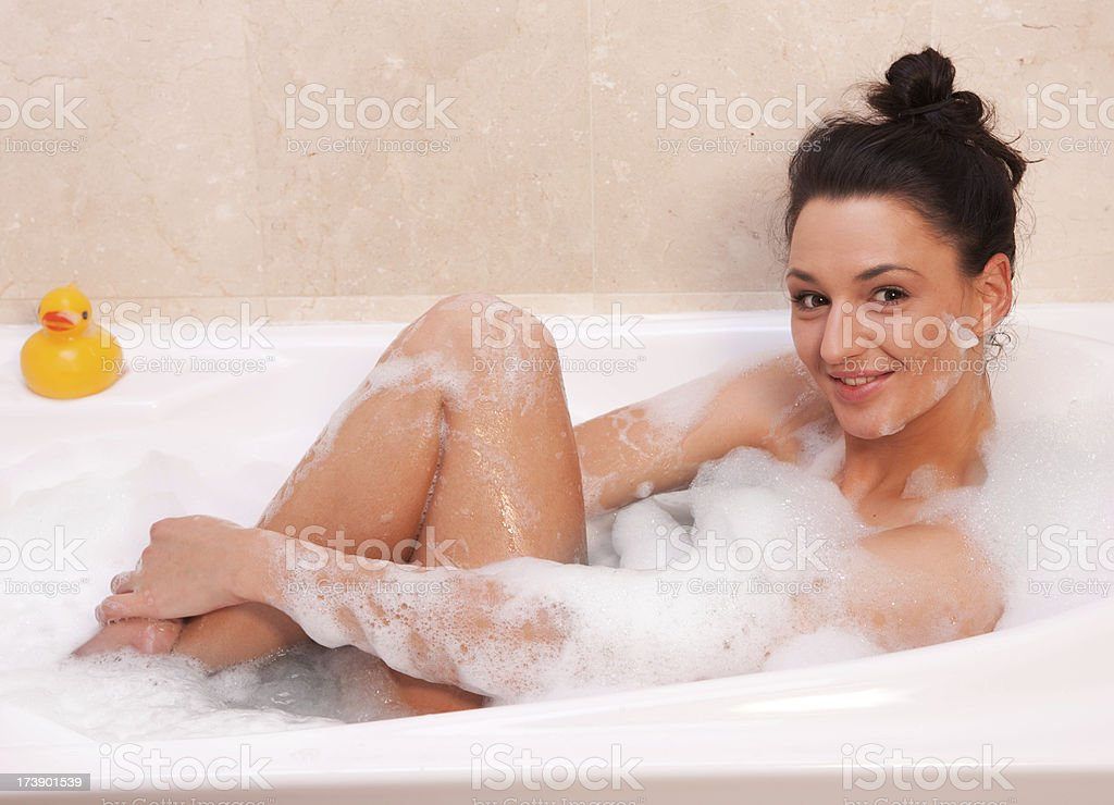 Girl in the bath royalty-free stock photo