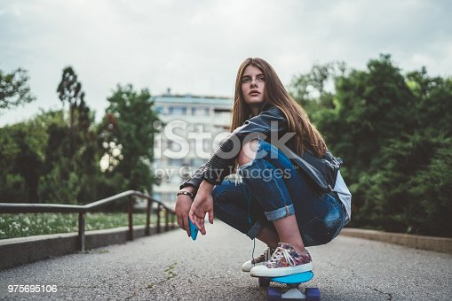 Portrait of teenager on skateboard in the city