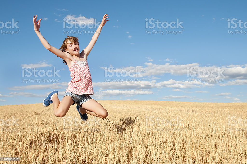 girl in the field of cereal royalty-free stock photo