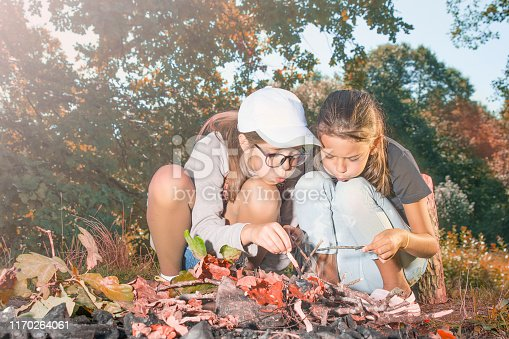 Girls make a fire in the woods.