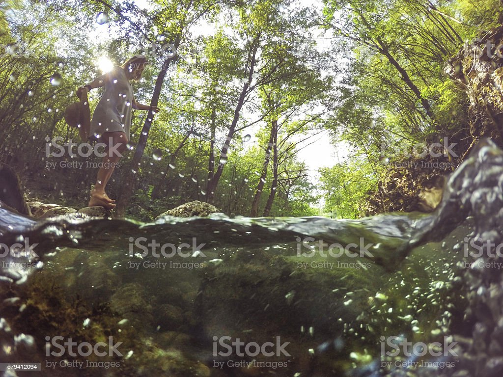 Girl in the forest stock photo